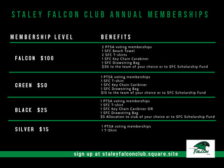 2020-2021 Staley Falcon Club Memberships Now Available