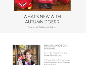 Mystery Author Autumn Doerr Will Sign Books in Lodi, CA, Saturday, 10/26
