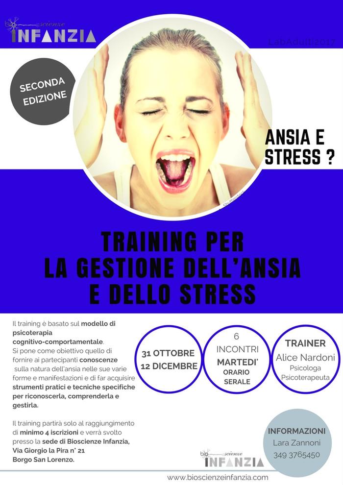 TRAINING DI GRUPPO PER LA GESTIONE DELL'ANSIA E DELLO STRESS