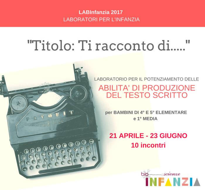 """""""TITOLO: Ti racconto di...."""" LABORATORIO DI POTENZIAMENTO DELLE ABILITA' DI PRODUZIONE"""