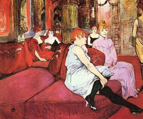 Salon rue des moulins toulouse lautrec copie reproduction toile