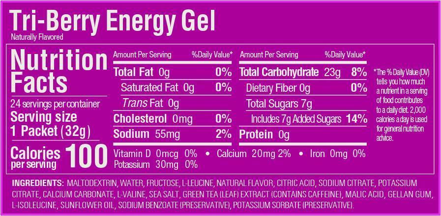 Nutritional label for GU Tri-Berry Gel 2019