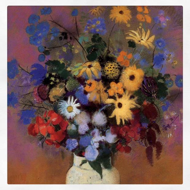 Grand bouquet dans un vase japonais, Redon