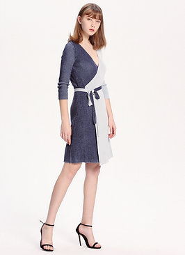 Two-Face Silk Cashmere Wrap Dress