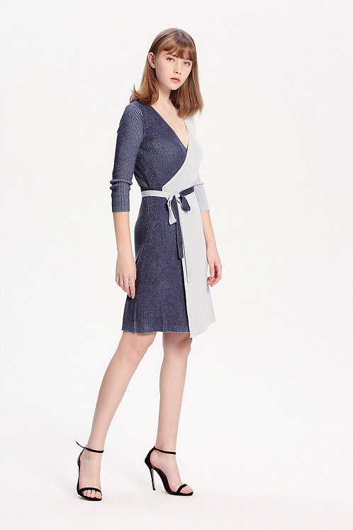 Two-Face Silk Cashmere Wrap Dress
