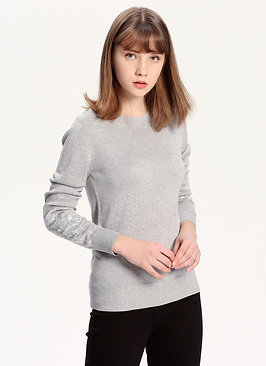 Dandelion Detailed Silk Cashmere Sweater