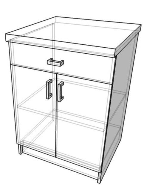Стол-тумба с ящиком (ш600г600в850)