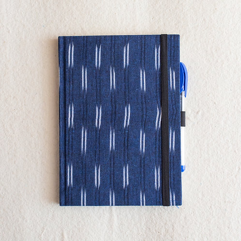 Ikat Blue Stripes, A5, Unruled