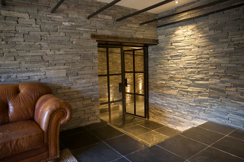 Metal and glass door