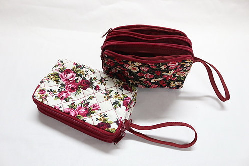 Pocket w/ 3 zips, assorted color & pattern fabric