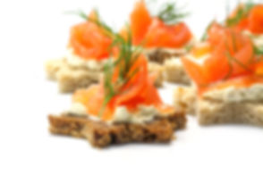 canapes in star shape with smoked salmon