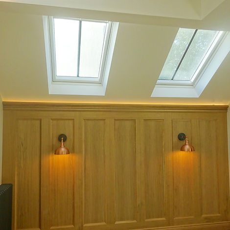 Oak Wall Panelling and Copper Wall Lights.jpg