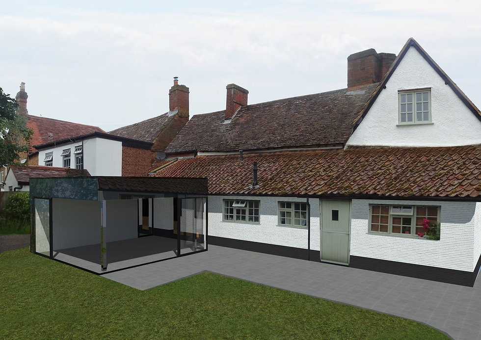 Contemporary extension to grade II listed house