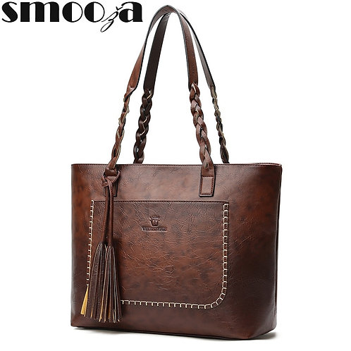 SMOOZA 2020 Fall Leather Fringe Retro Tassel Bag