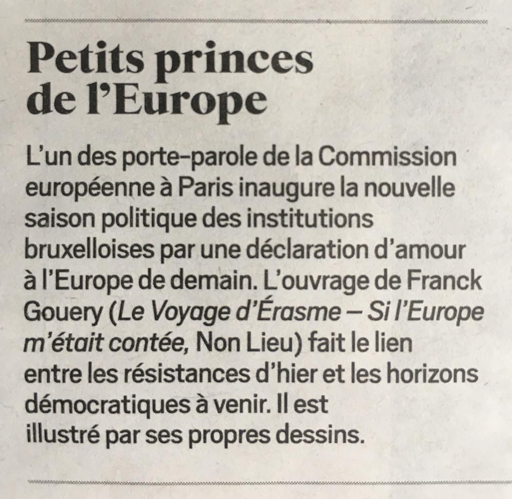 Mention du conte Le Voyage d'Érasme dans le Journal du Dimanche (30 juin 2019)
