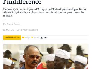 """Tribune dans Le Monde: """"Nommer le totalitarisme érythréen et sortir de l'indifférence"""""""