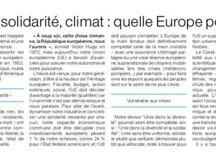 Tribune «Démocratie, budget, solidarité, climat: quelle Europe post Covid-19 ?» publiée par Ouest-Fr