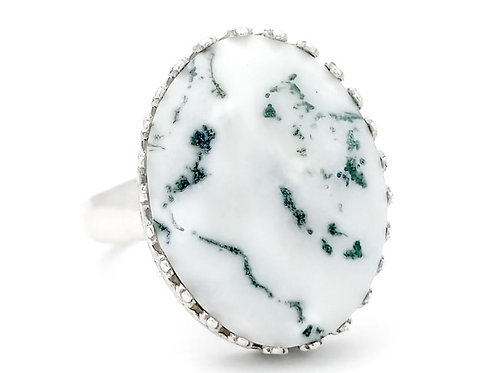 Tree Agate 18x13 MM Ring