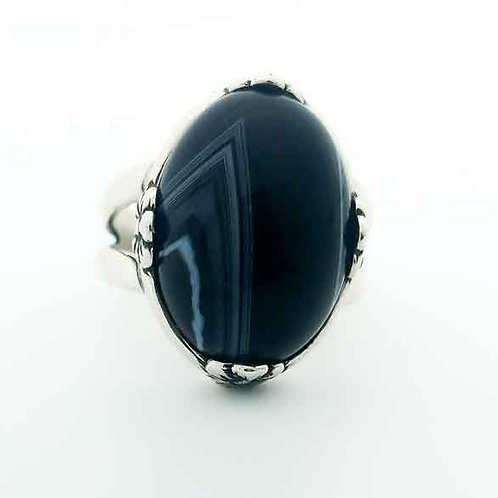 Black Lace Agate 18x13 MM Ring