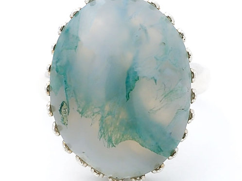 Green Moss Agate 18x13 MM Ring