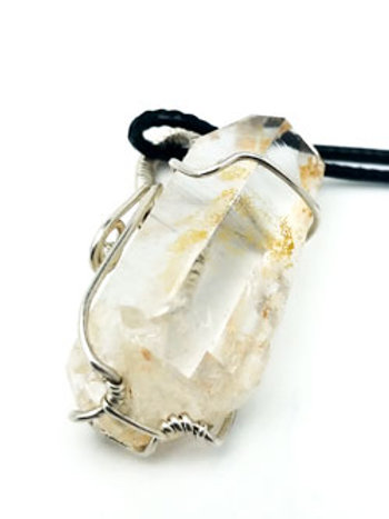 Large Water Clear Crystal Silver Wire Wrap