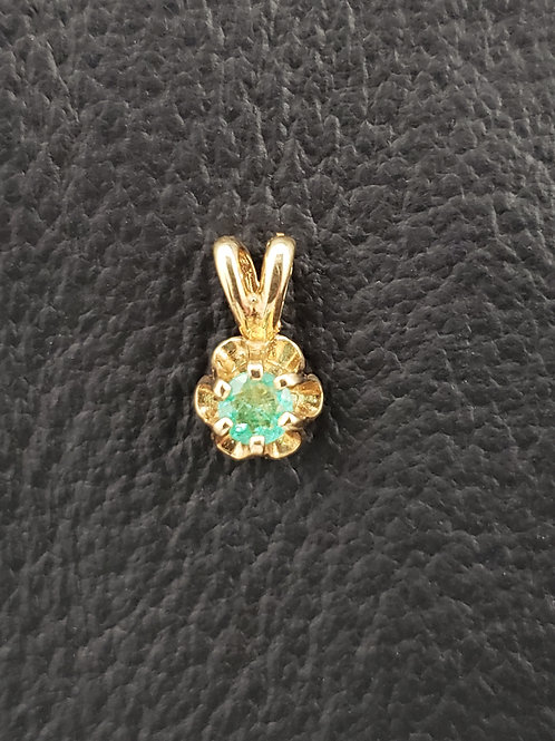 14k Gold Round Cut Emerald Pendant Superb Color