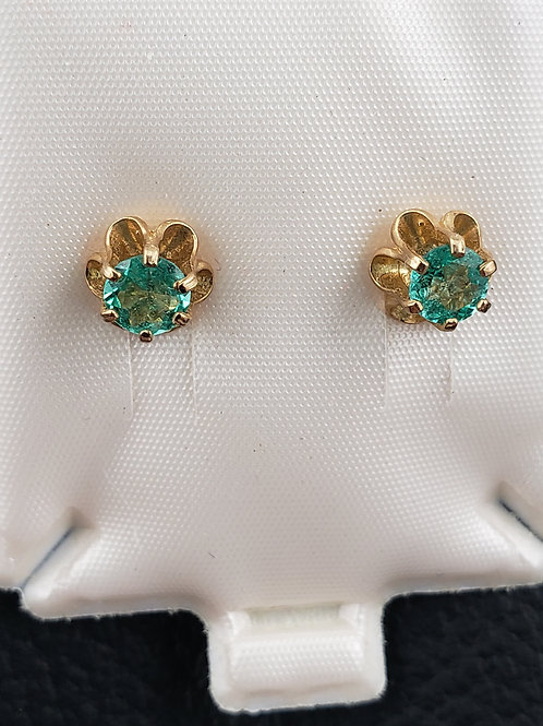 14K Gold Emerald Round Cut Earrings Perfect Color!