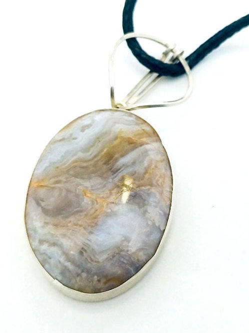 Plume Agate 30x22 MM Silver Pendant