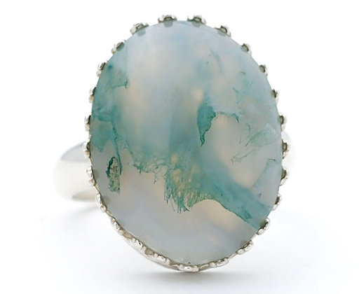 Green Moss Agate 18x13 MM Ring Size 7