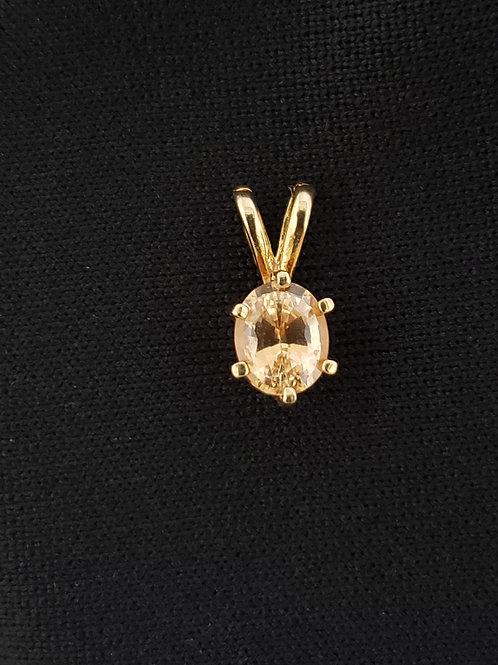 14k Gold Hessionite Garnet Peach/Pink Oval Pendant