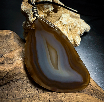 Large Agate Silver Wire Wrap