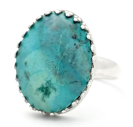 Chrysocolla 18x13 MM Ring Size 7