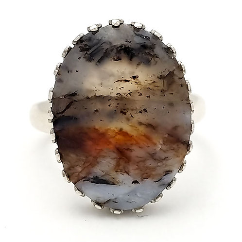 Montana Dendritic Agate 18x13 MM Ring