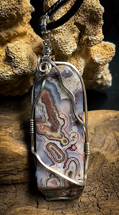Red Crazy Lace Silver Wire Wrap