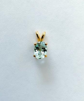 Light Blue Aquamarine 6x4 14K Gold Pendant