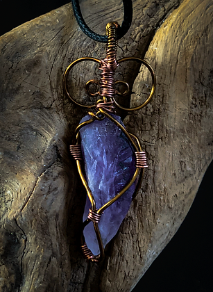 Raw Amethyst Bronze and Copper Wire Wrap