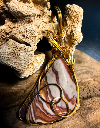 Medium Wonderstone Gold Plated Silver Wire Wrap