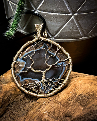 Tree Of Life Silver Wire Wrapped Agate