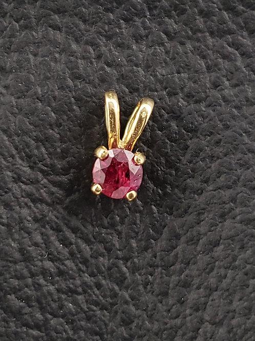 14k Gold Round Cut Ruby Pendant Excellent Color