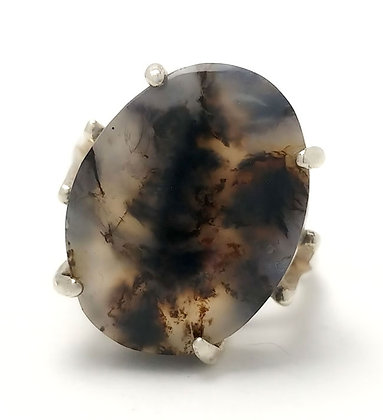 Montana Dendritic Agate 18x13 MM Ring Size 7