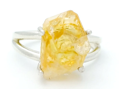 Raw Citrine Freeform Ring Small