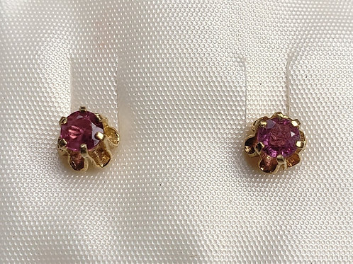 14K Gold Round Cut Pink Sapphire/Ruby Earrings