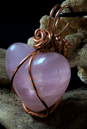Medium Rose Quartz Heart Copper Wire Wrap Pendant
