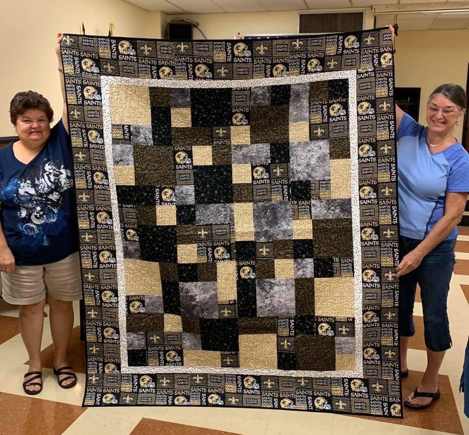 Saints Quilt handmade by Loretta Webre and Cindy Falgoust