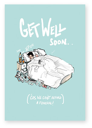 GET WELL CARD, MAN IN BED, ILL, FUNNY CARD, HOW FUNNY