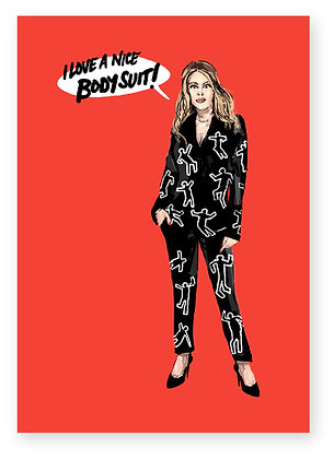 WOMEN, BLACK WORK SUIT, HIGH HEELS, BODY SUIT, FUNNY CARD, HOW FUNNY
