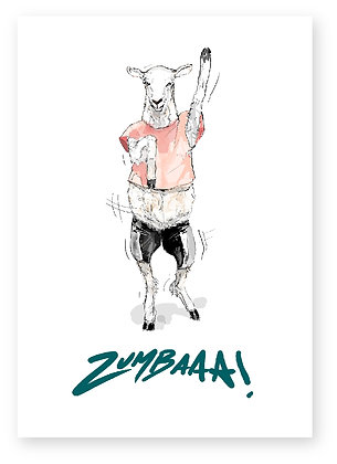 zumba, sheep, workout, aerobics, keep fit, funny card, how funny