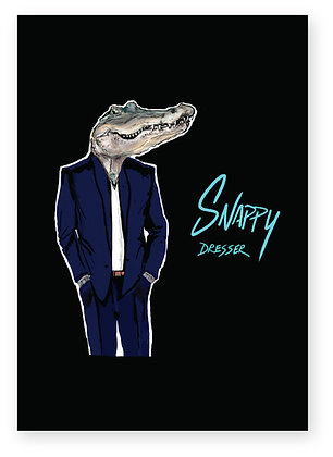 Crocodile smiling wearing a suit, SNAPPY DRESSER FUNNY CARD, HOW FUNNY GREETING CARD