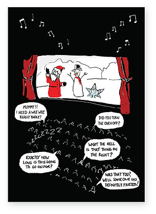 Christmas panto scene with audience comments, CHRISTMAS PANTO FUNNY CARD, HOW FUNNY GREETING CARD