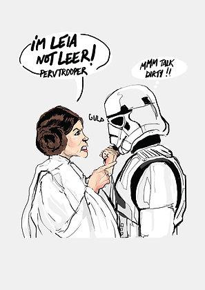 Princess Leia And Storm Trooper, Princess Leia A4 Funny Print, How Funny Prints, Funny Wall Art, Humour Print
